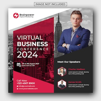 Virtual business social media post template
