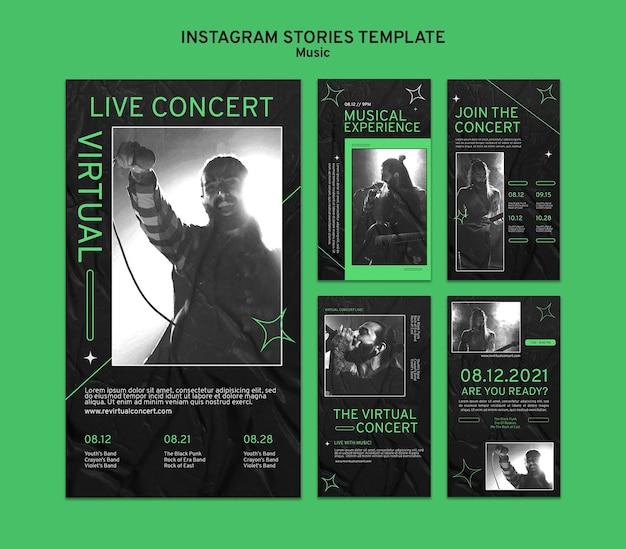 Storie sui social media di concerti virtuali