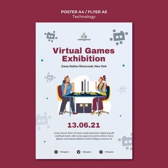 Шаблон плаката виртуальных игр