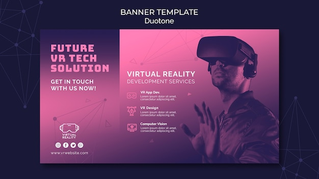 Virtual reality banner template in duotone