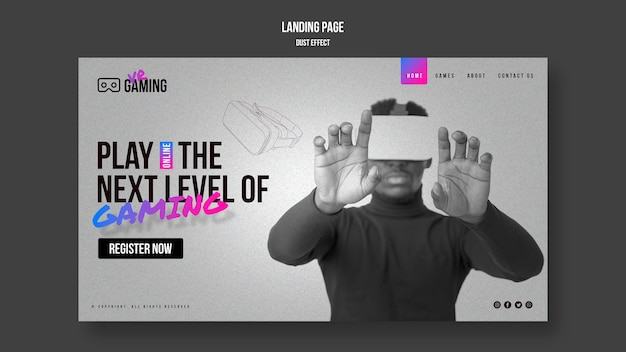 Virtual reality gaming landing page template