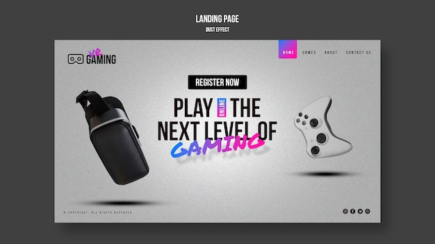 Virtual reality gaming template landing page