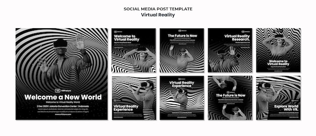 Virtual reality instagram posts template