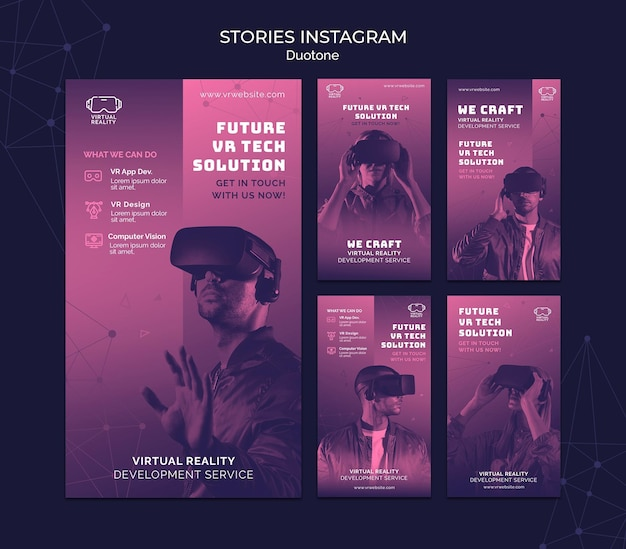 Virtual reality instagram stories template in duotone