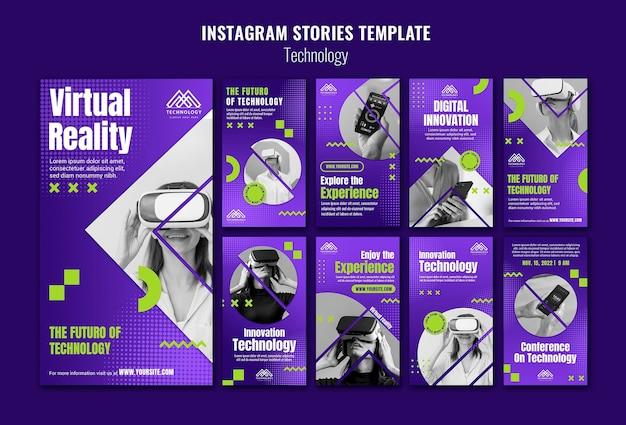 Шаблон рассказов instagram в виртуальной реальности