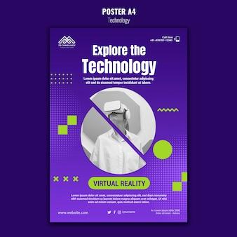 Шаблон плаката виртуальной реальности Бесплатные Psd