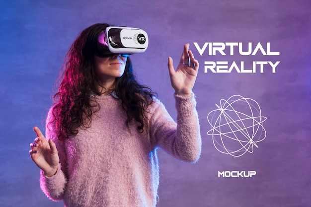Mock-up di concetto di tecnologia di realtà virtuale