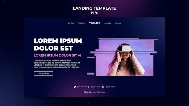 Virtual reality template landing page