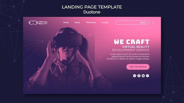 Virtual reality web template in duotone