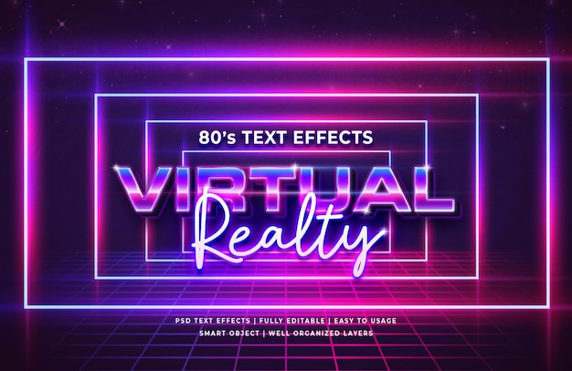 Virtual realty festival 80's retro text effect