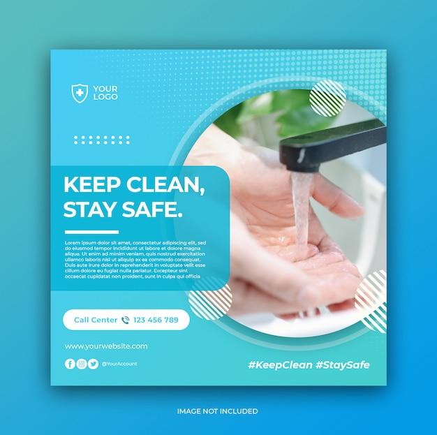 Virus prevention banner for social media post template