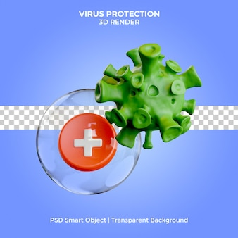 Иллюстрация защиты от вирусов 3d визуализация изолированные премиум psd