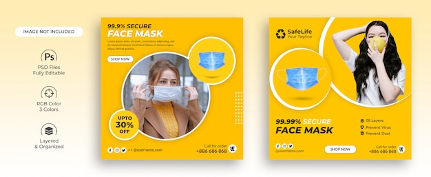 Virus protective face mask social media post template