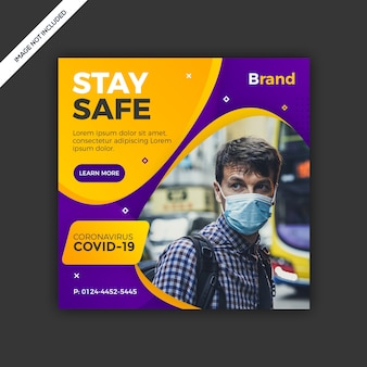 Virus social media post template design