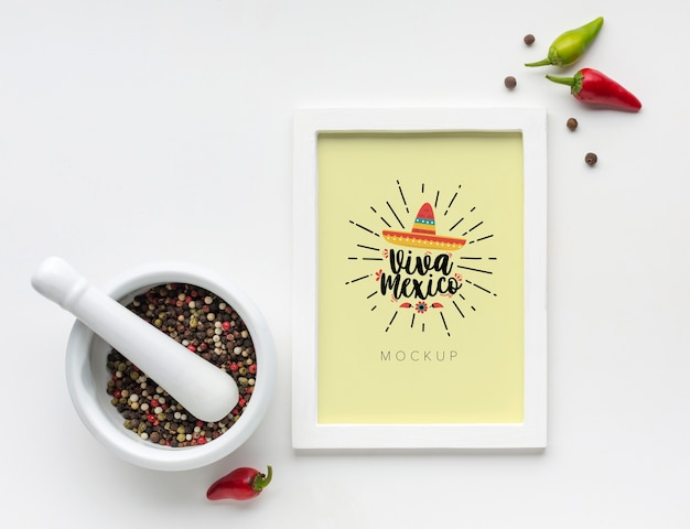 Каркасный макет viva mexico со специями и перцем