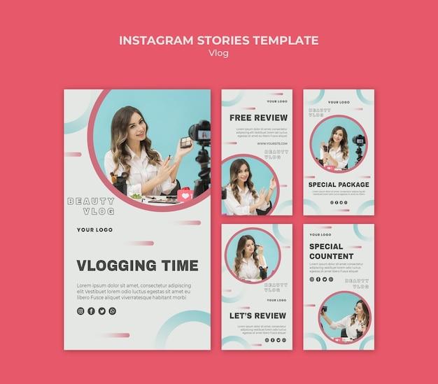 Modello di storie di instagram concetto vlog