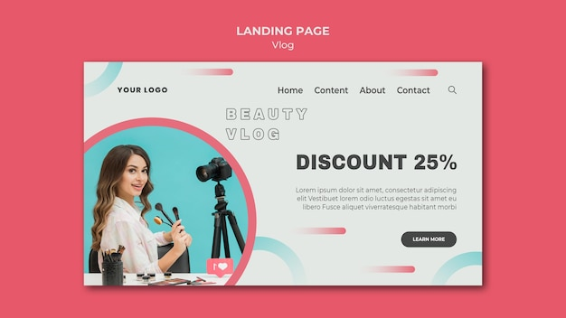 Vlog concept landing page template