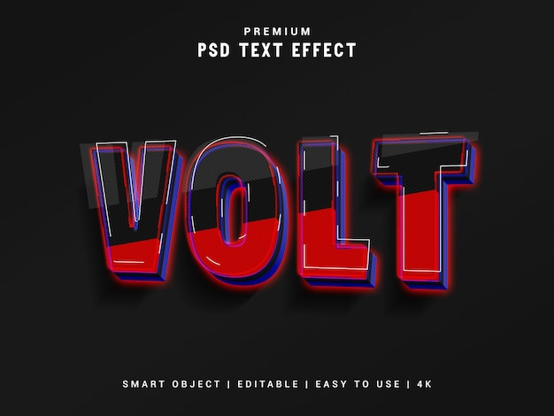 Volt text effect, 3d реалистичный макет