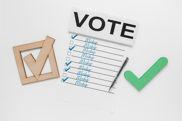 Voting for elections mock-up with tick mark