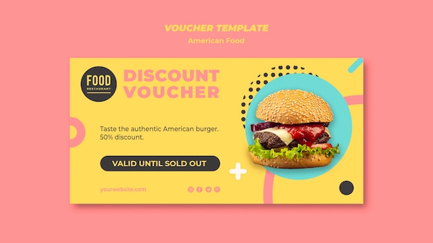 Voucher for american food with burger