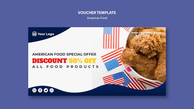 Voucher templatefor american food restaurant
