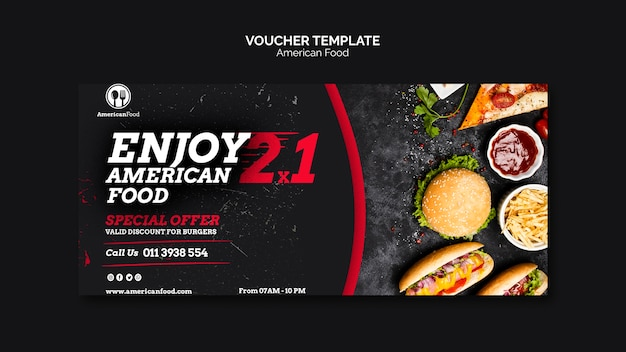 Voucher template american food