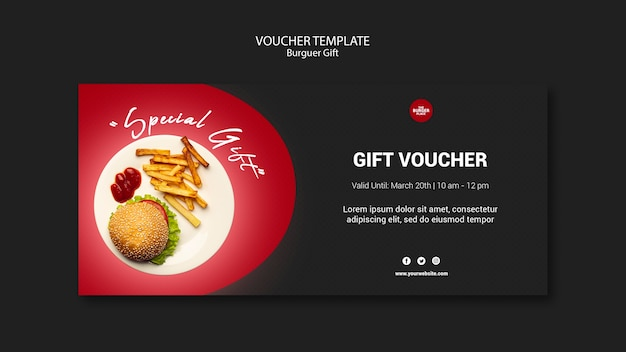 Voucher template for burger restaurant