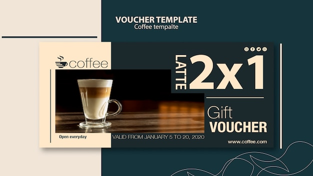 Voucher template concept with coffee