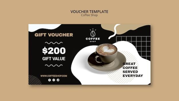 コーヒーショップのバウチャーテンプレートデザイン
