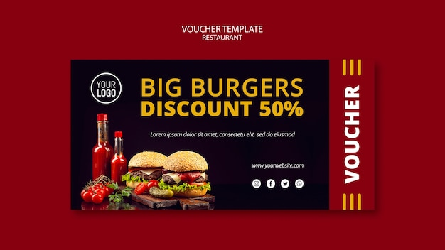 Voucher template design with discount