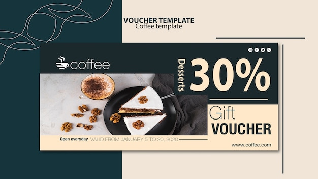 Voucher template theme with coffee