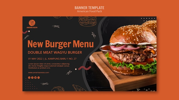 Voucher template with american food concept Free Psd