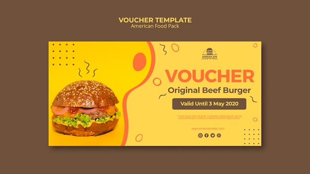 Voucher template with american food concept