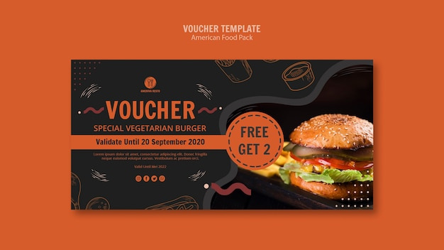 Voucher template with american food Free Psd