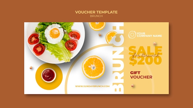 Voucher template with brunch theme