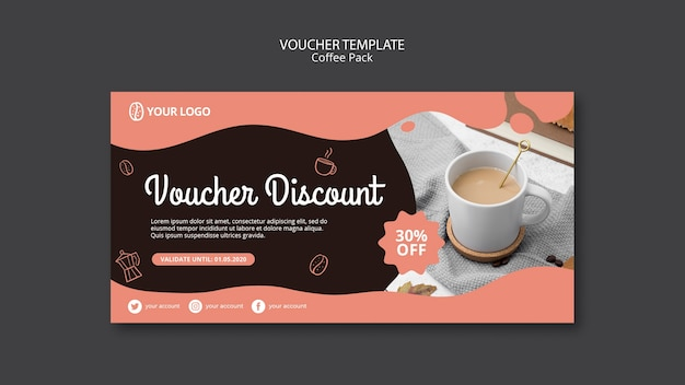 Voucher template with coffee concept