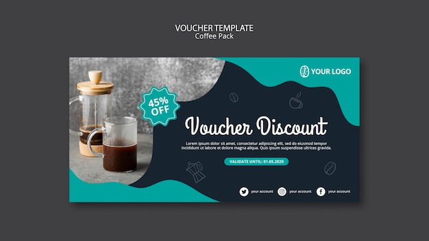 Voucher template with coffee theme