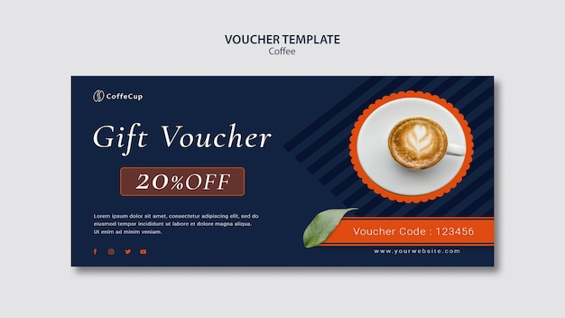 Voucher template with coffee