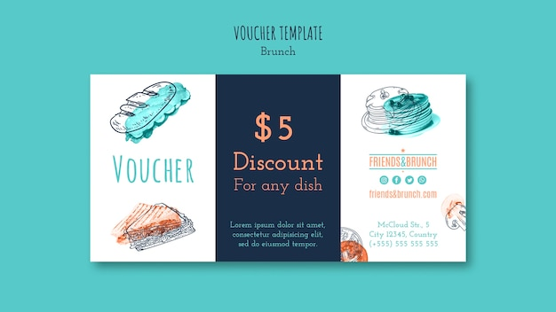 Voucher template with discount for brunch restaurant