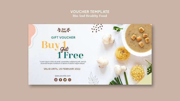 Voucher template with healthy food