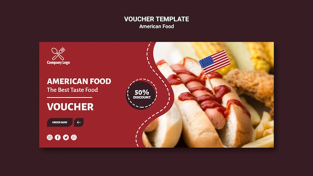Voucher template with hot dog photo