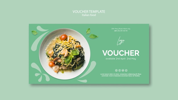 Voucher template with italian food theme