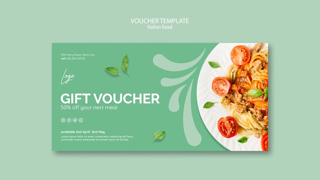 Voucher template with italian food