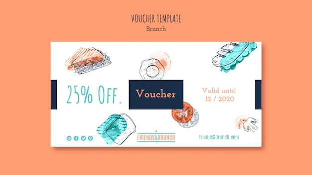Voucher template with offer for brunch restaurant