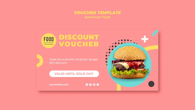 Voucher with discount for american food with burger