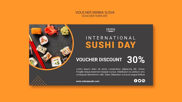Voucher with discount for international sushi day