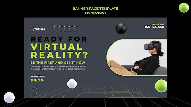 Vr glasses technology banner template