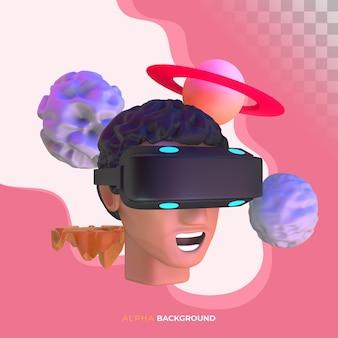 Vr развлечения в виртуальной реальности. 3d иллюстрация