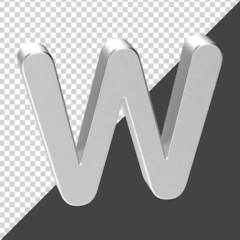 3d 렌더링에서 실버로 만든 w 편지 3d 현실 편지 w