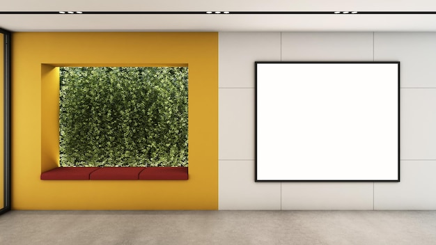 Waiting room area design modern minimal 3d render